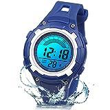 Reloj Digital Deportivo para Niños, Reloj de Pulsera Niña Multifunción con Pantalla LED Impermeable 30M para Niños, Niñas Reloj Infantil Aprendizaje para Niños 4-15 Años (Rojo) (Azul Oscuro)