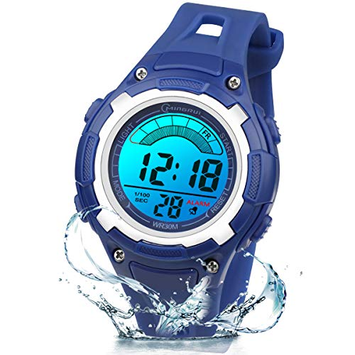 Kinderuhr Digitale für Jungen Mädchen,7 Farbe LED Wasserdicht Kinder Armbanduhr Sport Multifunktions mit Alarm Armbanduhr für Jungen Mädchen Alter 3-12 als Geschenk(Dunkelblau)