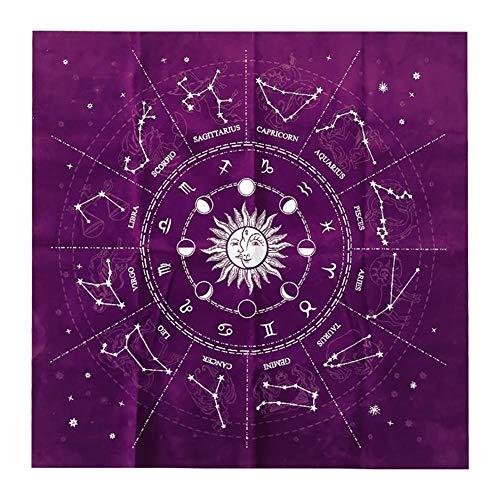 Mantel De Tarot, 12 Constelaciones De AstrologíA Tarot De AdivinacióN Mantel, Tela De Cartas De Tarot De Altar, Para Los Amantes Del Tarot Y Los Hogares Diarios 50×50cm (Morado)