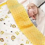 Manta para bebé 100% algodón orgánico, Manta Polar para niños, 70 x 105 cm, Color Amarillo, para Verano y niñas
