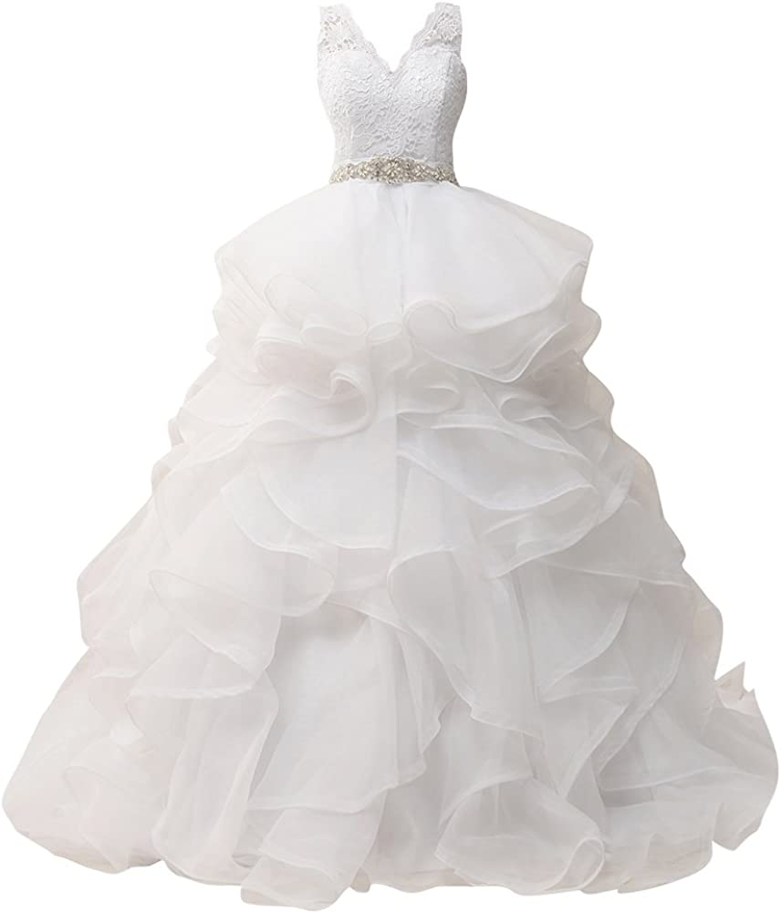 Wedding Dresses Ball Gown Lace Bridal Gowns Backless Bride Dress with Crystal Sash Wedding Gown Ruffles