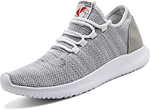 CAMVAVSR Men's Sneakers Fashion Slip on Lightweight Breathable Mesh Soft Sole Walking Running Jogging Shoes for Men Gray Size 12 Squat Weight Lifting Treadmill Shoes