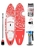 iROCKER Inflatable All-Around Stand Up Paddle Board 10' Long 32' Wide 6' Thick SUP Package (Blue)