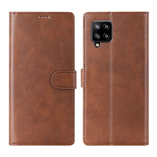 DDJ Funda para Samsung Galaxy A32 5G con ranuras para tarjetas, piel sintética, cierre magnético, resistente a los arañazos, compatible con Samsung A32 5G (marrón)