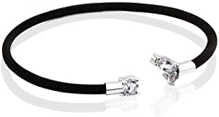 Black Ion Plated Stainless Steel and White Gold Eklat Bracelet with Topaz