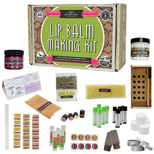 DIY Lip Balm Kit, Filling Tray Included! - (73-Piece Set) Make Homemade, Natural and Organic Balms   Includes Tubes, Beeswax Pouch, Essential Oils, Labels, Stir Sticks & More