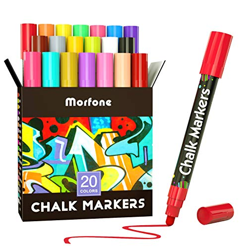 Liquid Chalk Markers, Morfone 20 Virbrant Colors Chalk Pens Erasable Art Marker for Chalkboards, Blackboard, Signs, Windows, Labels, Car, Mirror, Bistro ( 6mm Reversible Bullet Chisel Tip )