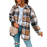 Women Long Sleeve Flannel Plaid Shirts Casual Button Down Shirt Jacket Cardigan Brown