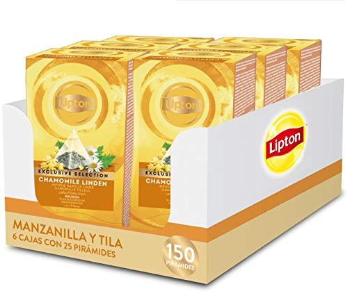 Lipton Selección Exclusiva Infusión Manzanilla y Tila - 6 cajas con 25 pirámides