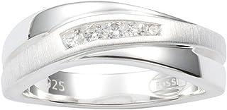 Fossil 女士戒指 925 纯银锆石'-戒指尺寸 50 JF12766040-5.5