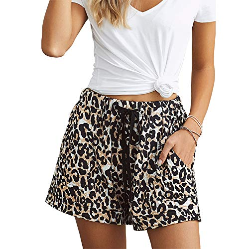 Pantalones Cortos Casuales para Mujer Cintura Alta Relajado Casual Estampado de teñido Anudado Cintura...
