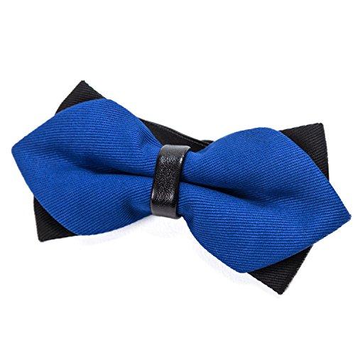 DonDon DonDon spitze Herren Fliege Schleife im Retro Look mit Haken gebunden vorgebunden und längenverstellbar blau