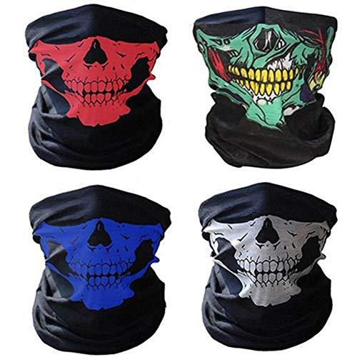 ZARRS 4 Pezzi Skull Maschera Multifunzionale del Motociclo,Maschera Skull Senza Cuciture Bandana Maschera Per Bici Motocicletta