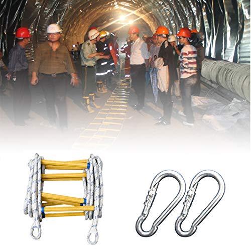 Rope Ladder Escalera contra Incendios, Robusto Antideslizante Resina Escalera De Cuerda De Escape con Ganchos Adultos Niños para Ventana Exterior XUYAO (Size : 5m)