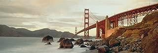 Walls 360 Peel & Stick Wall Mural: Golden Gate Bridge with Sea Rocks (36 in x 12 in)