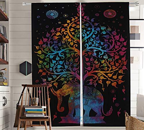 The Art Box Elephant Tree of Life Window Curtains Indian Drape Hanging Valances for Balcony Room Decor Bedroom Curtain Boho Set Tapestry Curtains Drapes & Valances Bohemian (No: #CURN80_Q)