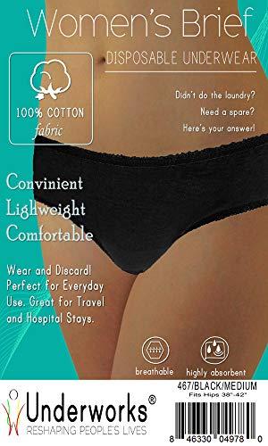 Underworks 20-Pack Womens Disposable 100% Cotton Underwear - For Travel- Hospital Stays- Emergencies - Black -