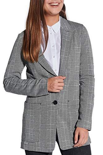 Vestino dames lange blazer business jas lang zacht jersey Glencheck geruit