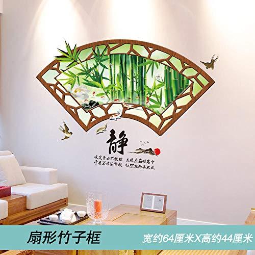 Pegatinas de pared de pintura de paisaje fondo de paisaje pegatinas de decoración de pared póster papel tapiz de papel autoadhesivo en forma de abanico marco de bambú_Extra grande