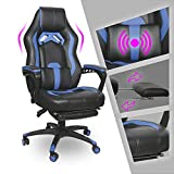 Video Gaming Chair Racing Recliner - Ergonomic Adjustable Padded Armrest Swivel High Back Footrest with Headrest Lumbar Support Leather Bucket Cushion Office Computer Massage for PS5 Switch Blue