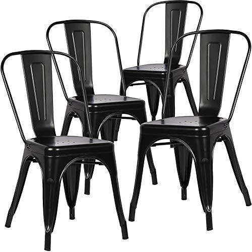 BenyLed Set di 4 Sedie da Pranzo in Metallo Impilabili in Stile Industriale, Stile Vintage, Adatto per Interni ed Esterni, Sedia da Giardino, Colore: Nero