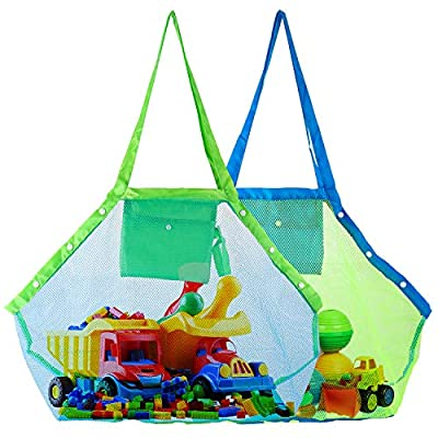 ValueTalks Mesh Beach Tote Bag, XL Large 2 Pack Kids Sea Shell Bags for Outdoor Swim Pool Childrens and Kids Toys Travel Towels Sand Away Organizer Storage Bags, Foldable Lightweight (Green+Blue)