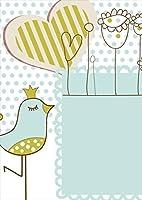 igsticker ポスター ウォールステッカー シール式ステッカー 飾り 1030×1456㎜ B0 写真 フォト 壁 インテリア おしゃれ 剥がせる wall sticker poster 005128 ラブリー 鳥 ハート イラスト