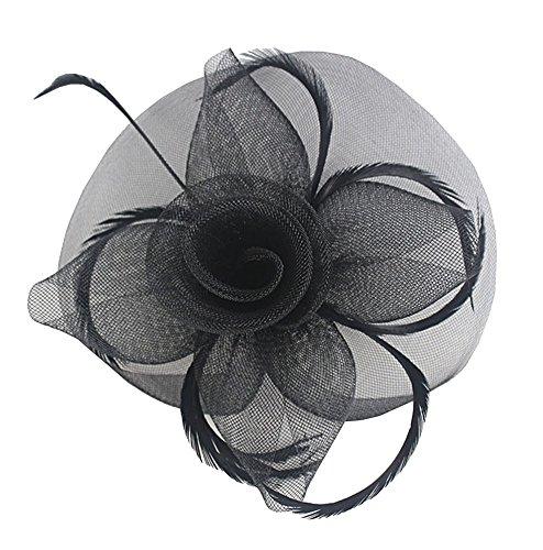 EEVASS Damen Faszinator Federhut Hochzeit Zubehör Blumenschleier Haarspange (# Schwarz)