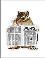 【新聞を読むリス】 余白部分にオリジナルメッセージお入れします!ポストカード・はがき(白背景)