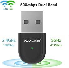 USB WiFi Adapter,Wireless Network Adapter for Laptop/Desktop Computer,Dual Band 2.4GHz/5GHz 433Mbps 802.11 ac/a/b/g/n Wireless Adapter for Windows 10/8/7/Vista/XP/2000