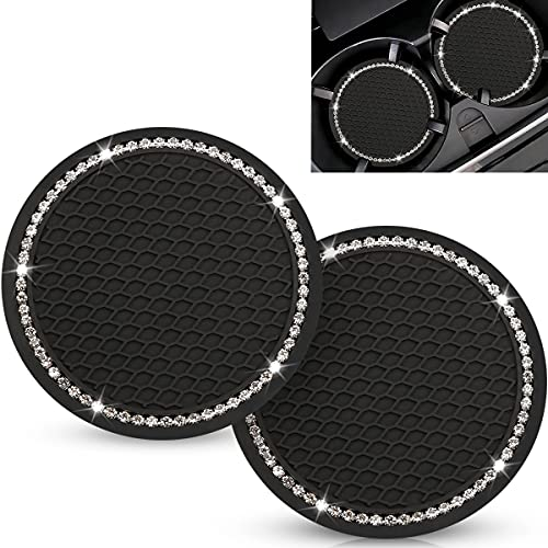 2PCS Dtouayz Bling Car Coasters, 2.75 inch Cute Car Coasters, Bling Car Accessories for Women, Silicone Anti Slip Crystal Rhinestone Cup Holder Car Coaster, Suitable for Most Car Interior
