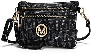 Mia K Collection Crossbody Bags for Women - Adjustable Strap Handbag Wristlet - Small PU Leather Messenger Purse Black