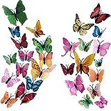 HO2NLE 72Pz Farfalle Adesive da Parete 3D Adesivi Muro Farfalle Magnetico Stickers Murali Farfalle per Decorare Casa Pareti Balcone Bambini Camera Armadio Fai Da Te 8 Colori Brillanti