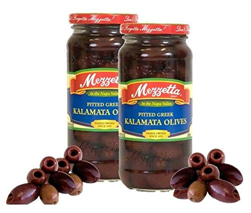 Mezzetta Pitted Imported Greek Kalamata Olives 2 Jars 10oz/269g Each
