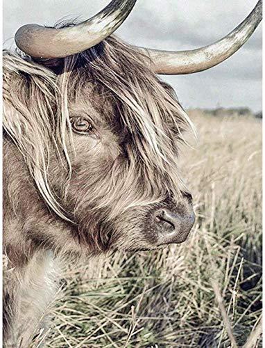 5D Diy Pintura Diamante Taladro Completo Kit Para Adultos Vaca Animal Completo Taladro De Cristal Bordado Para Decoración De La Pared Del Hogar 50X70 Cm (19,7X27,5 Pulgadas)