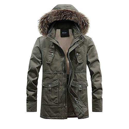 Lowest Prices! Milamy Men's Hooded Overcoat Winter Thicken Warm Plush Lined Coat Casual Long Sleev...