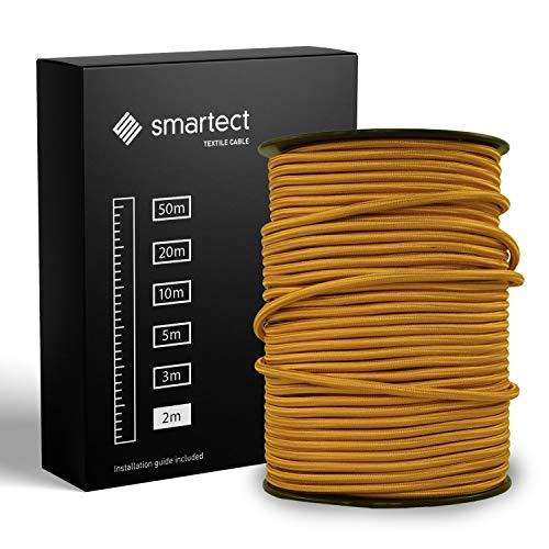 smartect Textilkabel Gold - 2 Meter Vintage Lampenkabel aus Textil - 3-Adrig (3 x 0.75 mm²) - Stoffummanteltes Stromkabel für DIY Projekt