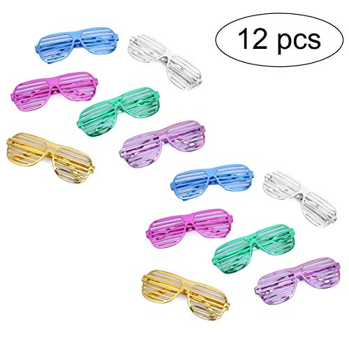 Flanacom Partybrillen 24er Set in 6 verschiedenen Metallic Farben - Partybrille Atzenbrille Scherzbrille Spaßbrillen - Scherzartikel für Geburtstagsparty, Fasching, Karneval, Malle (12er Set)