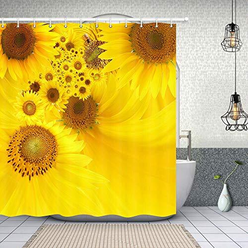 JYEJYRTEJ Goldene Sonnenblume Dekorativer Duschvorhang kann gewaschen & getrocknet Werden,10Haken,120X180cm,geeignet für Badezimmer