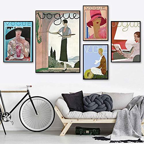 XIXISA 5 Piezas Vintage Cuadros Figura de Moda Cotizaciones Cartel e Impresiones Lienzo Pintura Abstracta Mujer Pared Arte imágenes Sala de Estar decoración nórdica sin Marco