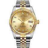 BUREI Mens Luxury Automatic Watch Dress Gold Self-Winding Wristwatch Date Display Two Tones...