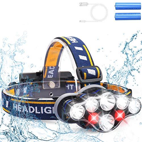 Alupper Lampada Frontale da Testa Ricaricabile, 8 Fari a LED con luci Rosse, 2 batterie 18650 Ricaricabili, Angolo Regolabile di 90 Gradi, Possono Essere utilizzati per la Guida Notturna, l'alpinismo