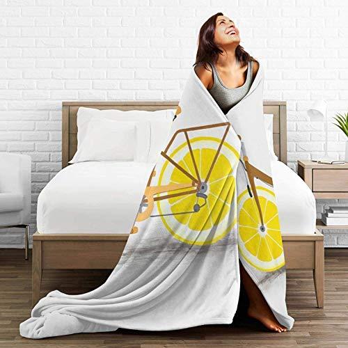 MesHood Bicycle with Lemon Wheel Printed Soft Warm Blanket,Flannel Fleece Blanket,Blanket for Couch Sofa Living Room Decoration