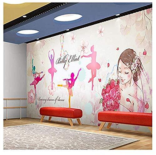 Tapete Fototapeten Poster Benutzerdefinierte Fototapete Nagelkosmetik Schönheitssalon Studio Wandmalerei 3D Menschen Mädchen Aquarell Tanz Musikzimmer Tapete-250 * 175Cm