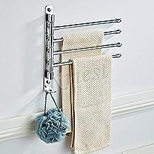 Kmest 4 Towel Rail Stainless Steel Swivel Bar Matt Black Silver Bathroom Hanger Wall Mount Four Bar Solid Quality (Silver)