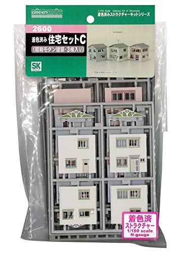 グリーンマックス Nゲージ 着色済み 住宅セットC (昭和モダン建築・3棟入り) 2600 鉄道模型用品