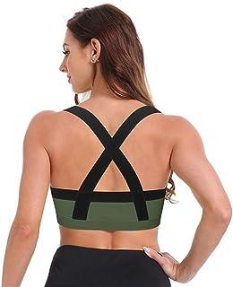 Sports Bras, Sports Top Yoga Bra Women Cross Back Sport Bras Push Up Brassiere Padded Sportswear Gym Shirt Running Vest Cr...