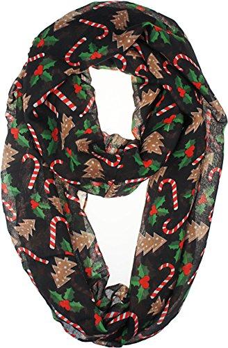 VIVIAN & VINCENT Soft Lightweight Elegant Christmas Holiday Sheer Infinity Scarf (Christmas Black)