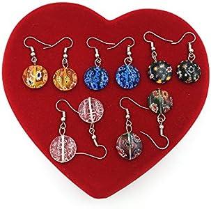 skyllc® Pendientes Retro Multicolor de Cristal de Murano Lampwork Granos del Encanto cuelga los 10 Pares