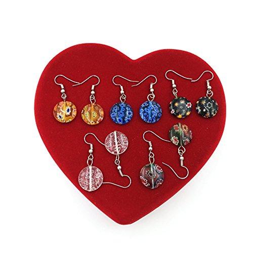 skyllc® Pendientes Retro Multicolor de Cristal de Murano Lampwork Granos del Encanto...